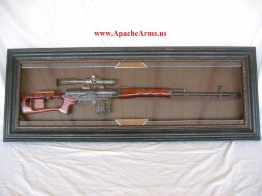 Russian SVD Dragunov in wood display case with glass front