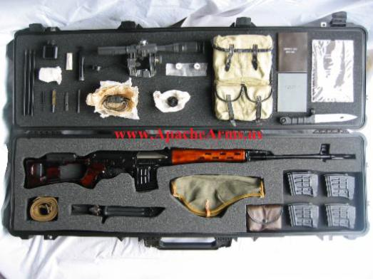 Russian SVD Dragunov in case with accessories
