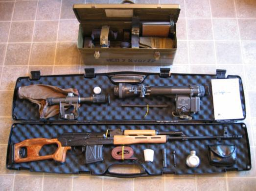 Romanian PSL rifle in case with accessories and with Russian night vision scope and scope case