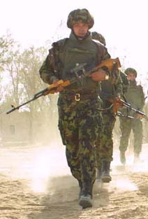 Romanian infantry soldier carrying PSL rifle