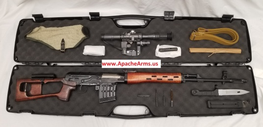 Russian Tiger Dragunov rifle in case with accessories